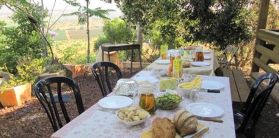 פינת ברביקיו עם שולחן אוכל גדול