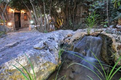 מפל מים מאבן טבעית בלב הגן והצמחייה
